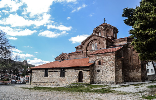ohrid macedonia fyrom охрид македонија architecture buildings ancient old heritage city downtown innercity history cathedral church quiet peaceful quaint orthodox temple beautiful day spring springtime tree blue sky white light clouds sunlight sunshine balkan europe street