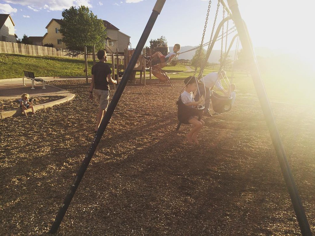 Sunshiny playground after t-ball practice last night