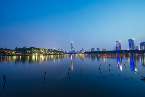xuanwulake lake water longexposure sunset city cityscape skyscraper skyline wall greatwall light night tall reflection sky clear outdoor nikon nikond800 tamronsp1530f28