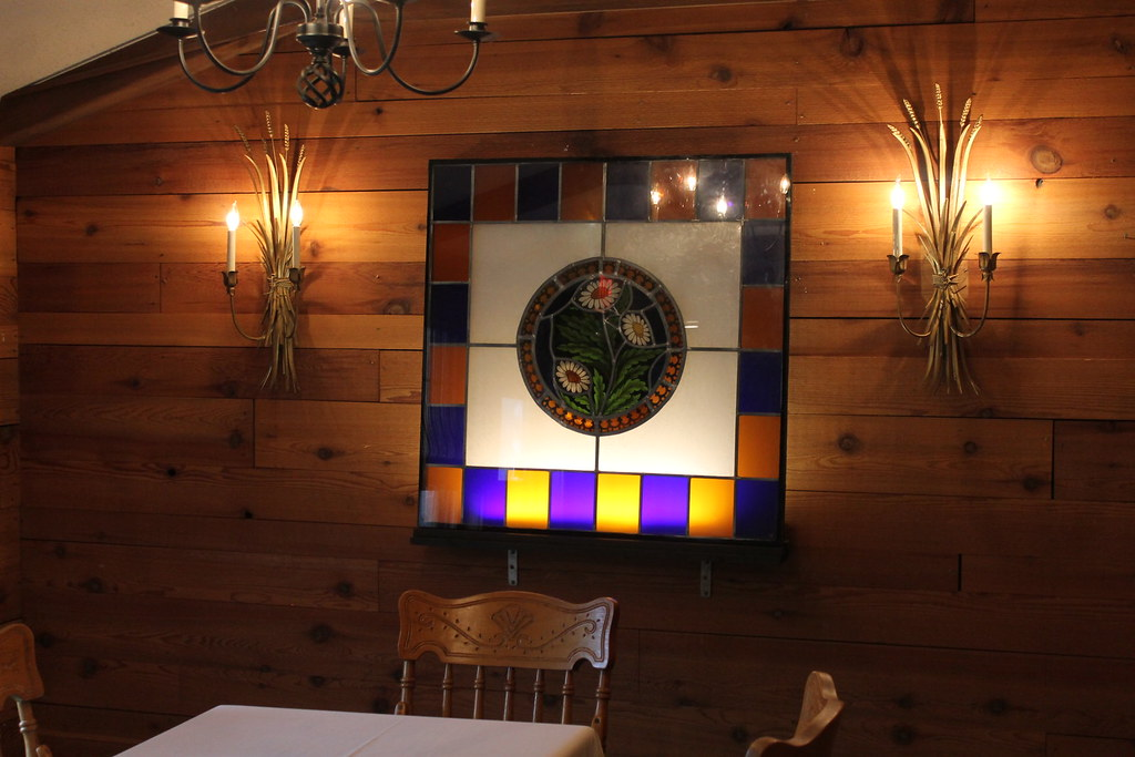 Art/Glass in bar seating area