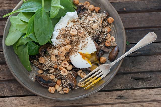Poached Eggs with Mushrooms & Dukkah