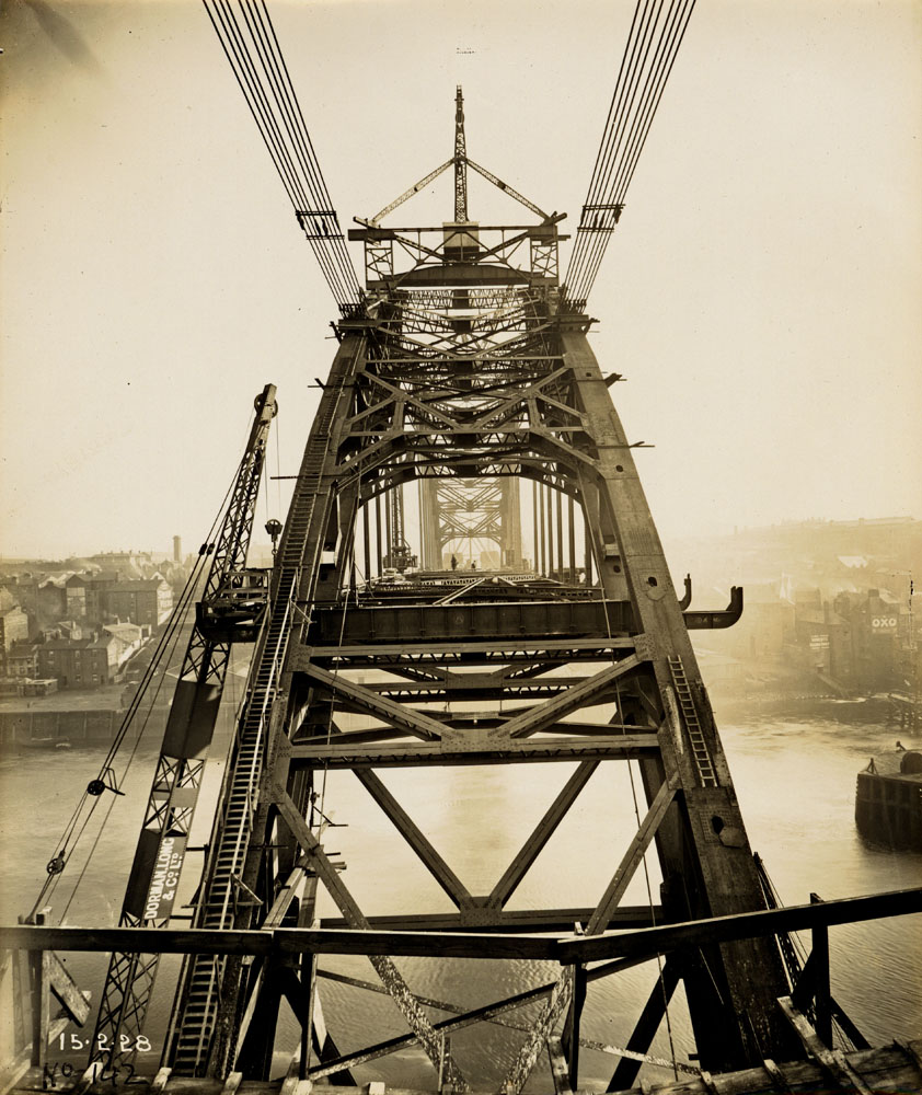 View along the Tyne Bridge during construction