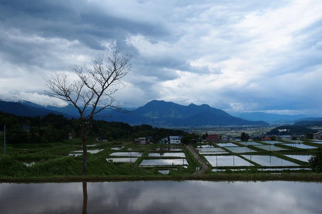 飯山市常郷から高社山と田んぼ