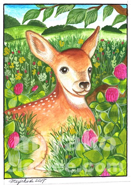 Deer with Clover in the Countryside