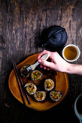 Olives for Dinner   Sweet Potato and avocado rolls with teriyaki glaze