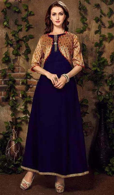 Navy Blue Color Linen Cotton Anarkali Suit