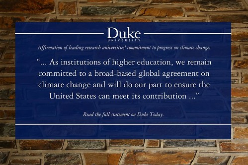 Duke joins peer universities in pledge reaffirming commitment to progress on climate change. Read the statement on today.duke.edu.