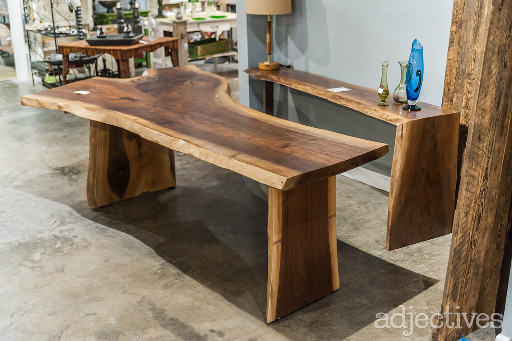 Handcrafted solid wood table with live edge by Refined by David at Adjectives Altamonte