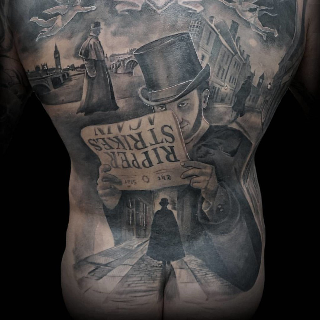 Jack The Ripper Black And Grey Back Tattoo Blackandgrey Flickr
