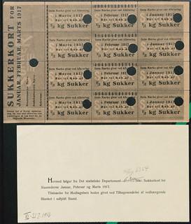 6364 sukkerkort til Hillerød for 1. kvartal 1917