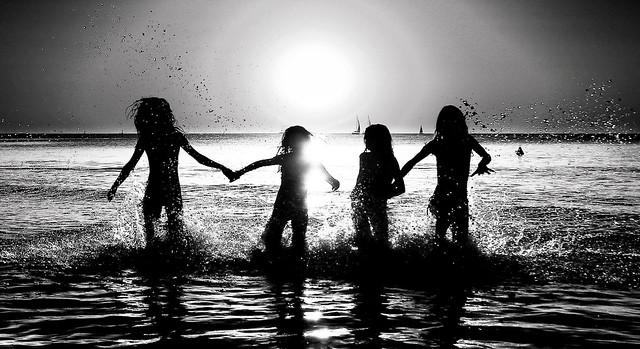 Friends (Monochrome) My oldest daughter & her friends bathing at sunset - Tel-Aviv beach