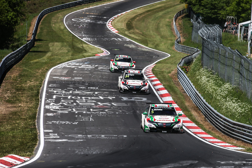 05 MICHELISZ Norbert (hun), Honda Civic team Castrol Honda WTC, 34 MICHIGAMI Ryo (jpn), Honda Civic Honda racing team Jas, 18 MONTEIRO Tiago (prt), Honda Civic team Castrol Honda WTC, action during the 2017 ETCC European Touring Car Championship race at Nurburgring, Germany from May 26 to 28 - Photo Antonin Vincent / DPPI