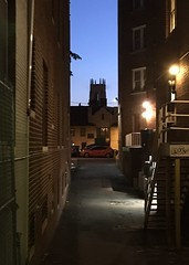 Alley at dusk, view to Church of the Pilgrims from 21st Street NW, Washington, D.C.