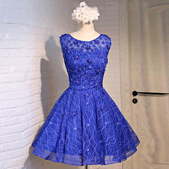 A-Line Crew Knee-Length Open Back Royal Blue Homecoming Dress with Appliques