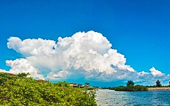 Massive Brilliant White Cloud On Powder Blue Sky At Apollo Beach - IMRAN™