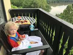 Madeleine enjoys a fruit and cheese breakfast overlooking the Potomac river today