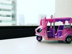 Toy Pink Stitch on the window..