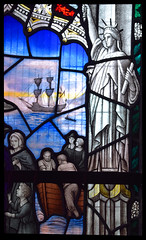 Statue of Liberty welcomes the Pilgrim Fathers (AK Nicholson, 1928)