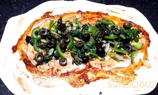 Pizza Sauce on dough sheet