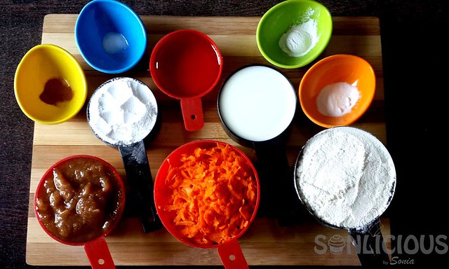 Ingredients for Carrot Date Muffins