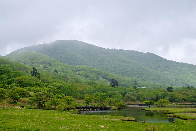 地蔵岳にもガスがかかってます@覚満淵