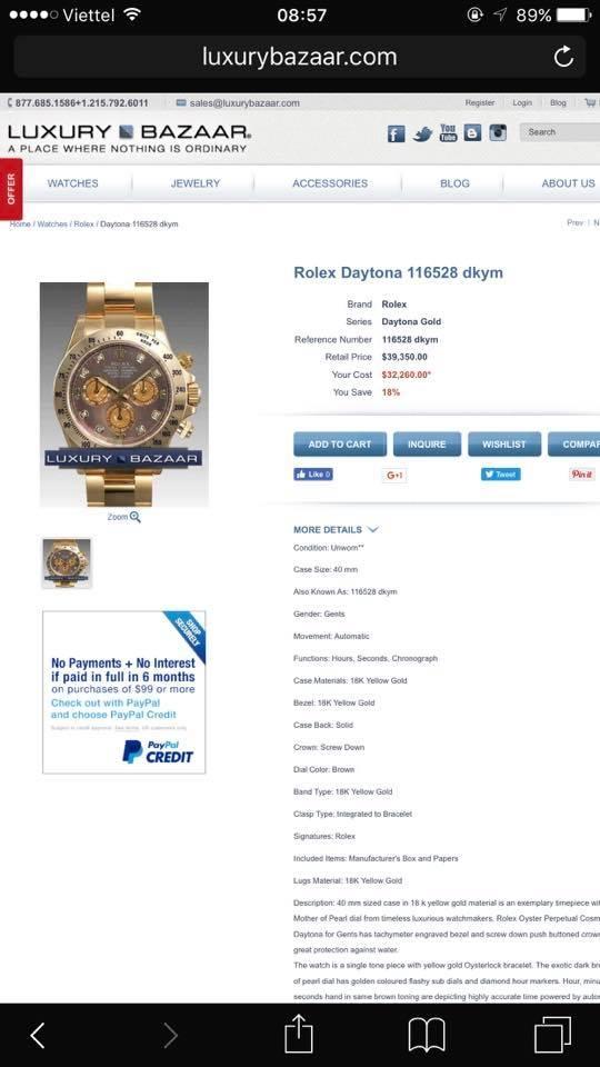 Đồng hồ rolex daytona 6 số 116523 – Mặt đá thiên thạch xà cừ – vàng 18k – size 40mm