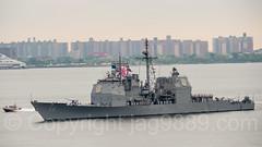 2017 Fleet Week - USS San Jacinto (CG 56) Guided Missile Cruiser approaching the Verrazano-Narrows Bridge, New York City