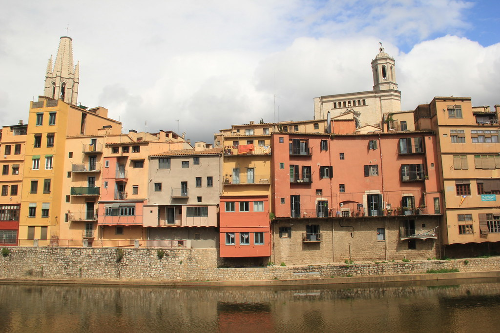 Colourful buildings along the Onyar River, Girona