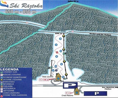 Ráztoka - Horná Mariková - mapa sjezdovek