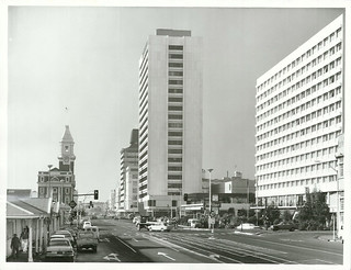 Downtown re-development photograph shows the Travelodge Hotel and Air New Zealand House. Customs Building on Quay Street. Auckland.
