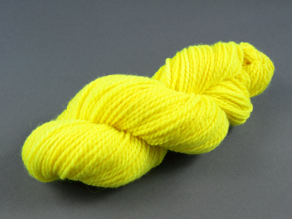 Neon/fluro yellow hand dyed yarn