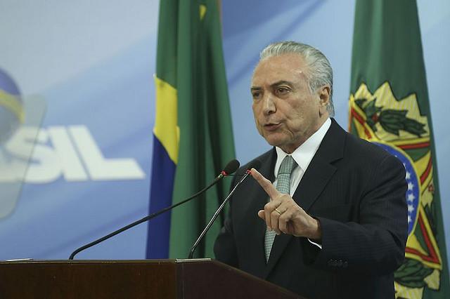 Temer durante el pronunciamento de este jueves (18), donde afirmó que no renunciará - Créditos: Valter Campanato/Agencia Brasil