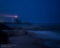Santa Cruz Lighthouse on a foggy night