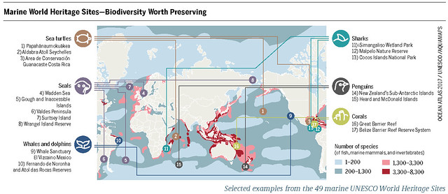 Selected examples from the 49 marine UNESCO World Heritage Sites Graph: Ocean Atlas 2017, Petra Böckmann/Heinrich Böll Foundation