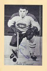 1944-63 NHL Beehive Hockey Photo / Group II - ANDRE PRONOVOST (Left Wing) - Autographed Hockey Card (Montreal Canadiens) (#279)