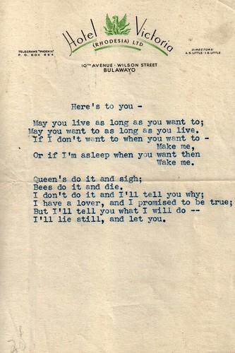 erotica lovenote africa rhodesia bulawayo zimbabwe hotelvictoria ephemera 1950s 1960s poetry typed britishempire anonymous affair