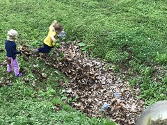 Sawyer runs and jumps into a pit of leaves on our bike ride