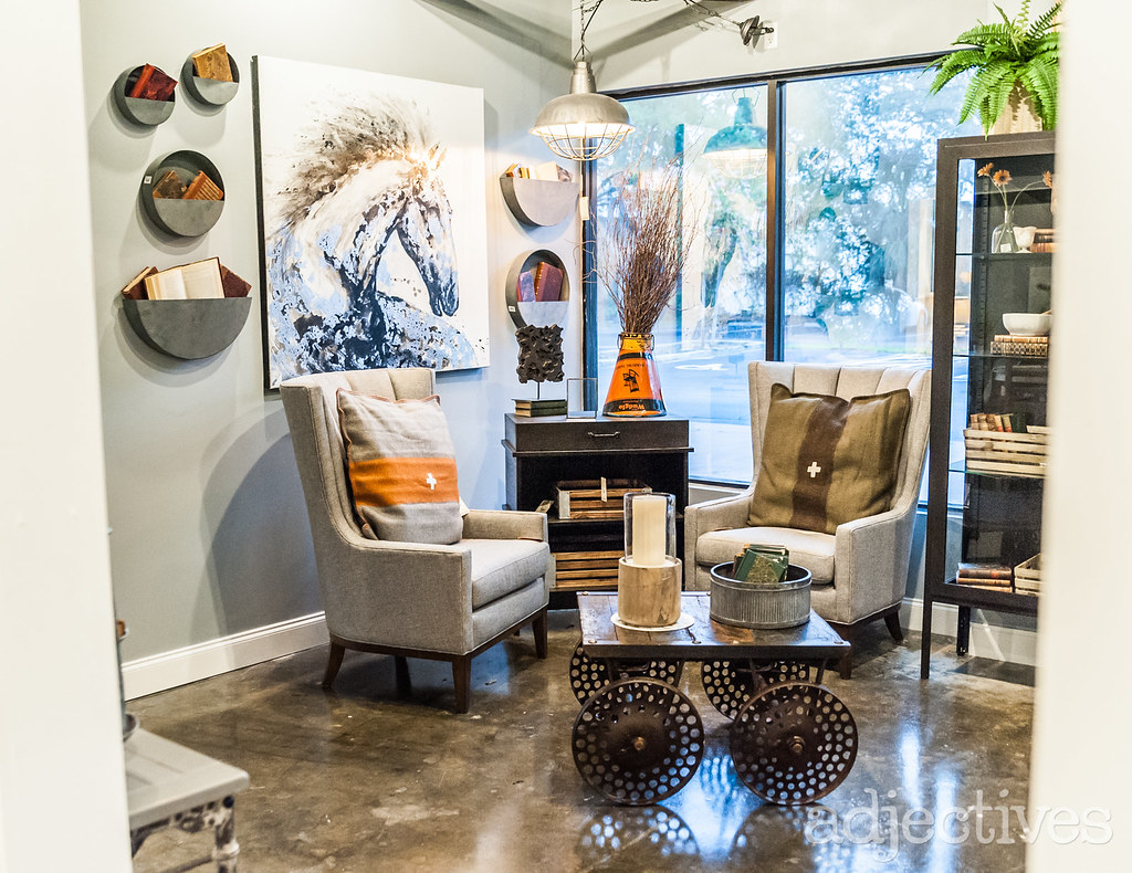 Plush Club Chairs, vintage cart coffee table, wall and home decor in Altamonte