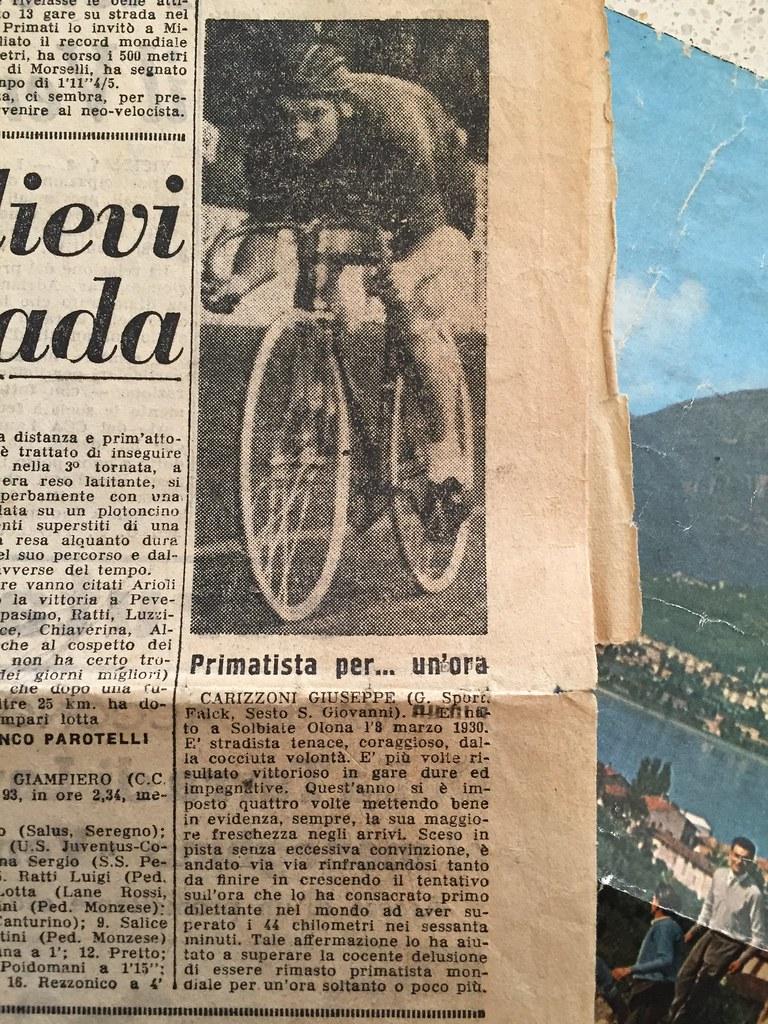 Record dell'ora dilettanti al Vigorelli (articolo giornale) (materiale inviato dal figlio Danilo .... grazie)