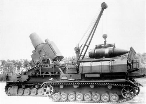 German 600 mm self-propelled mortar named Karl firing on Warsaw September 1944.