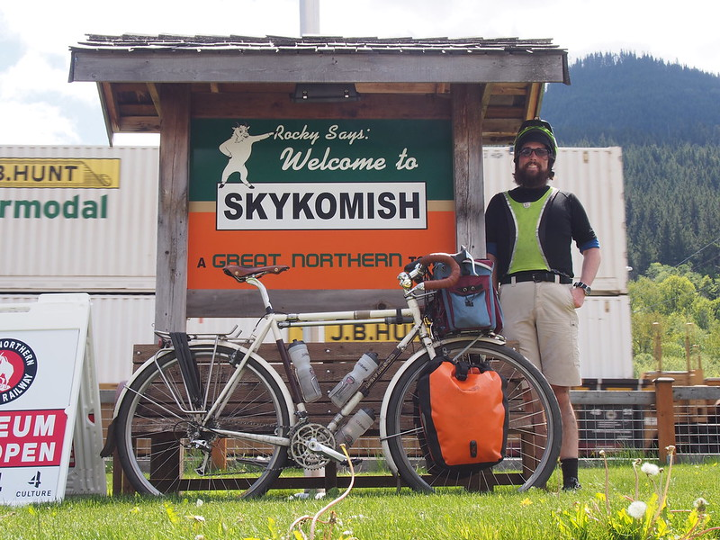 Neil and Ivory Pass in Skykomish: With a BNSF train passing by in the background.