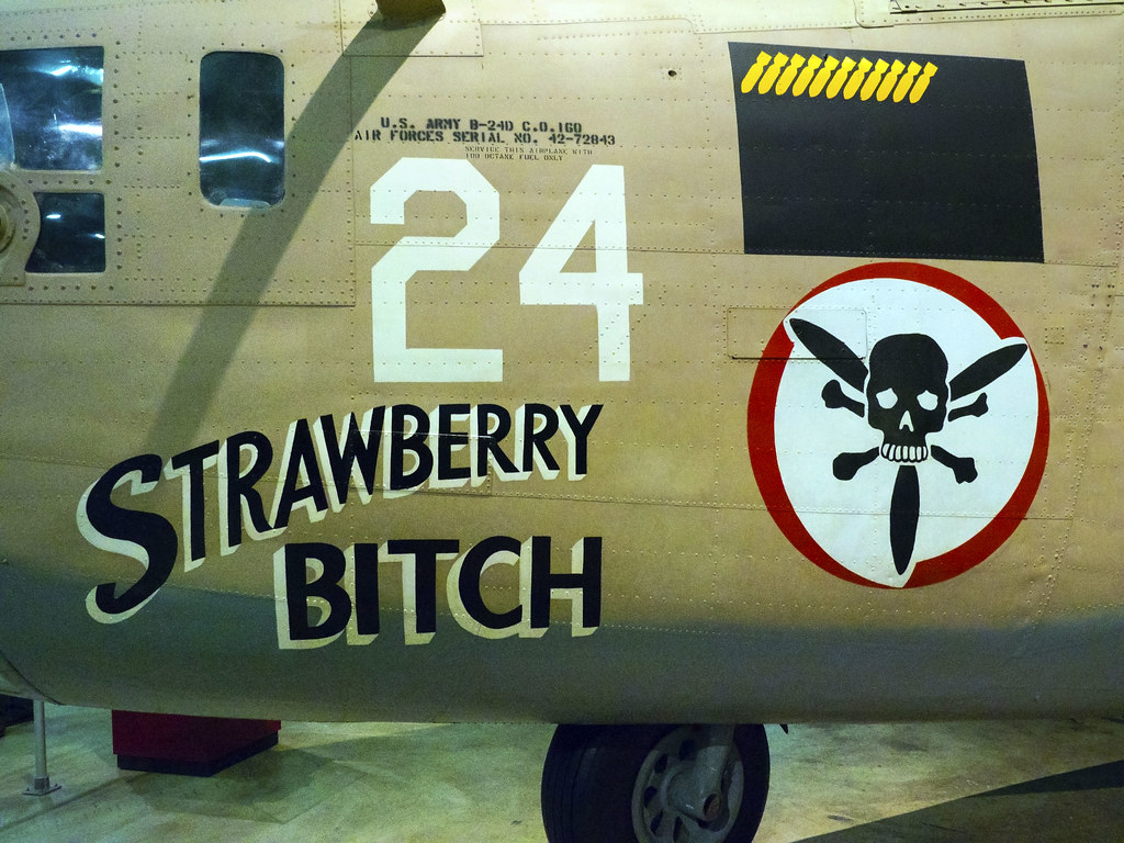 USAF Museum 04-18-2017 - Consolidated B-24D Liberator Strawberry Bitch Port Nose Art