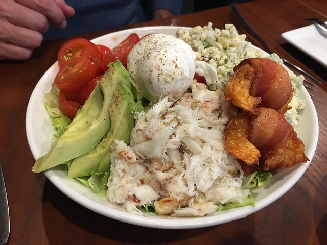 Dungeness crab and bacon prawn cobb salad - Barking Frog