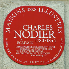 Photo of Charles Nodier red plaque