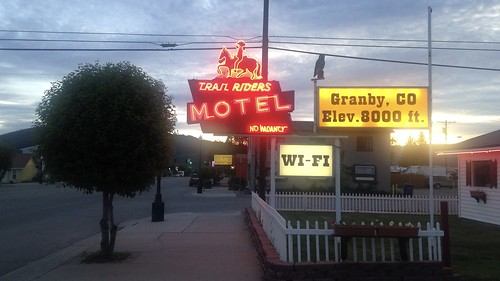 trailriders motel colorado granby neon sign novacancy elev8000ft wifi sunset picketfence plasticowl lollipoptree
