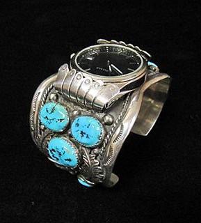 Antique Silver Watch Bracelet | American Indian Bracelets | Sterling Silver Jewelry
