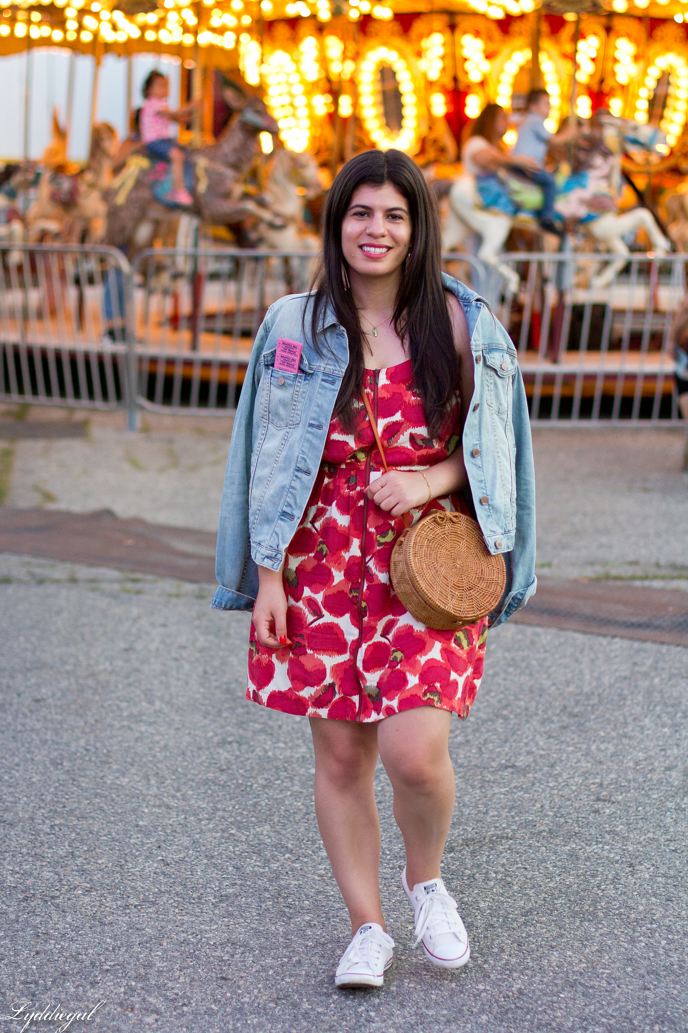 poppy dress, denim jacket, white converse, round rattan bag-2.jpg