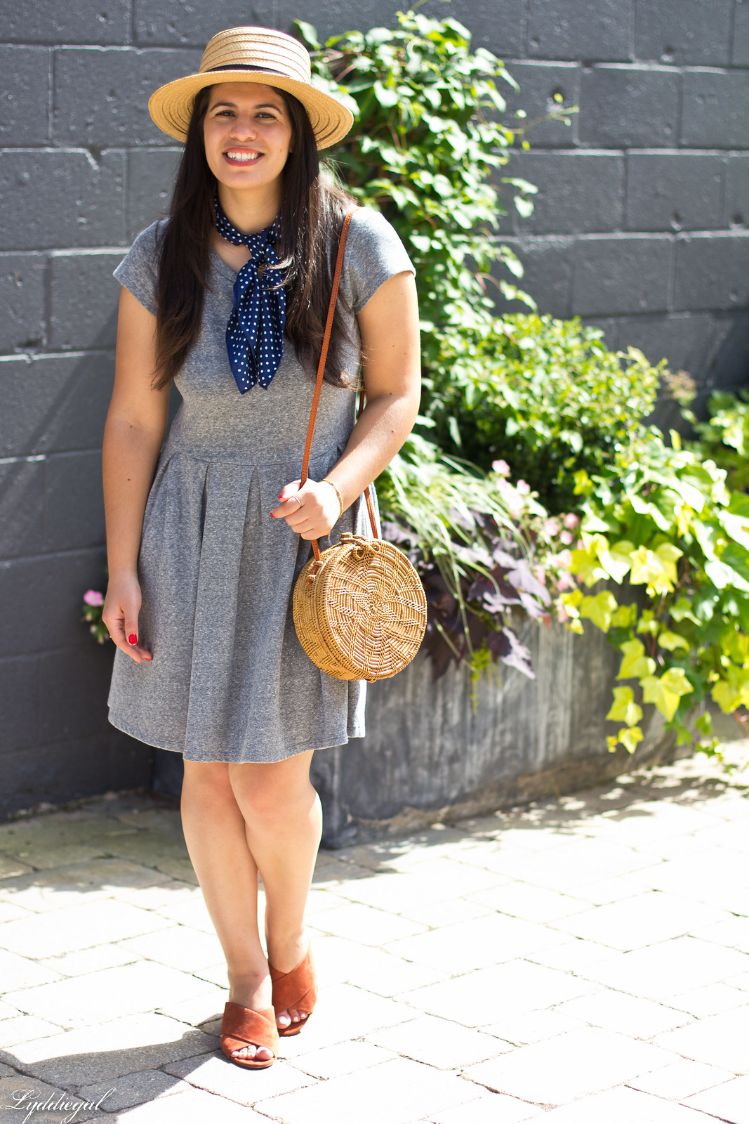 grey dress, mules, round rattan bag, straw hat-5.jpg