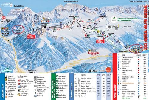Alpe Lusia - mapa sjezdovek