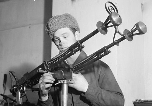 Soviet Degtyaryov DA-2 twin 7.62mm MGs  aircraft defence